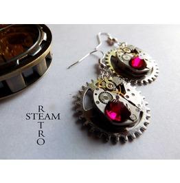 Steampunk Ruby Gear Earrings Steampunk Jewelry By Steamretro