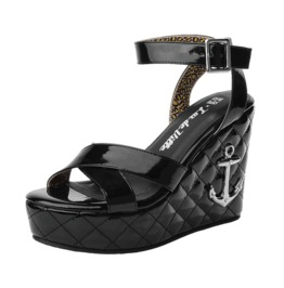 Tuk Black Shiny Strappy Sandals With Anchor On Wedge Heels Free Us Shipping