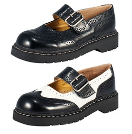 Tuk Black Or Black White Leather Brogue Flat Sandal Mary Jane Shoes