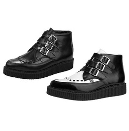 Tuk Black Or Black & White Pointed Toe Buckle Creeper Shoe