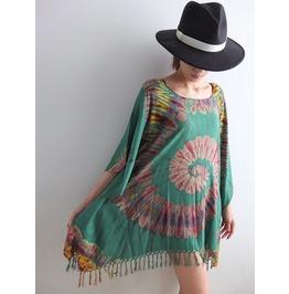 Hippie Tie Dye Poncho Color Shirt T Shirt Dress