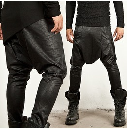 Low Crotch Paisley Pattern Leather Baggy Sweatpants 117