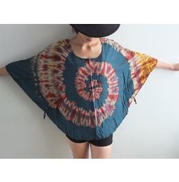 Hippie Fashion Tie Dye Color Poncho Fashion Shirt Free Size