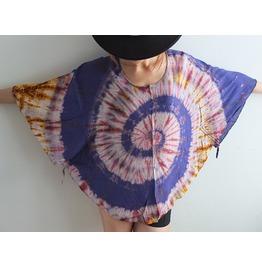 Poncho Hippie Fashion Tie Dye Color Pop Indie Shirt Free Size