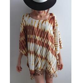 Poncho Hippie Tie Dye Fashion Pop Rock Indie Long Shirt