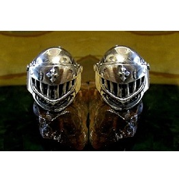 Knight Helmut Cufflinks Sterling Silver