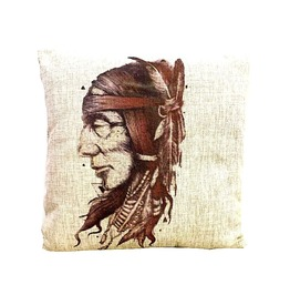 Awesome Native American Indian Print Linen Cushion Cover