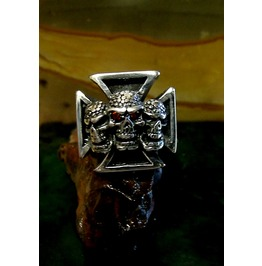 Cross Skull Ring Sterling Silver