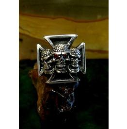 Cross Skull Ring Sterling Silver