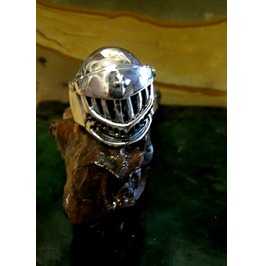 Knight Helmut Ring Sterling Silver