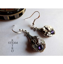 Steampunk Purple Lila Earrings Steamretro Steampunk Jewellery