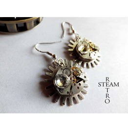 Steampunk White Snow Earrings Steampunk Jewelry By Steamretro