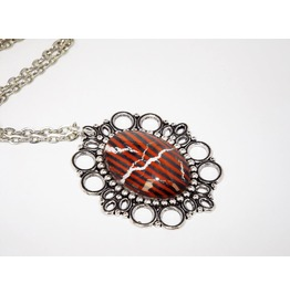 Handmade Gothic Red Black Stripes Pendant Necklace