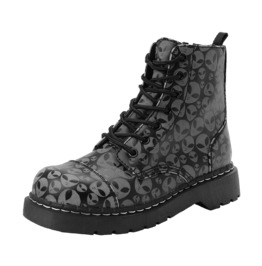 Tuk Black Vegan Punk Glowing Alien Heads Combat Boots Free Shipping To Us
