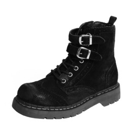 Tuk Black Suede Ladies Brogue Military Punk Combat Boot Free Us Shipping