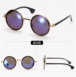 New 2015 Mirror Lens Round Glasses Goggles Steampunk Sunglasses 18