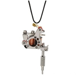 Tattoo Machine Pendant Silver Metal