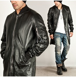 Masculine Zippered Arm Pocket Accent Zip Up Long Leather Jacket 159