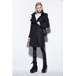 Punk Style Black Wool Women Jackets