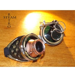 Bronze Steampunk Goggles Double Loupe Green Lens Cyber Goggles Burning Man