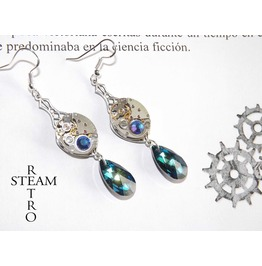 Steampunk Silver Bridal Bermuda Blue Earrings Steamretro Steampunk