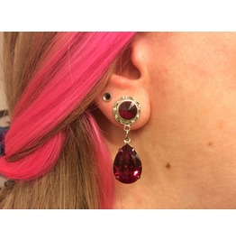 7/16 00g 0g 2g 4g 6g 8g 10g 12g 1 Pair Ruby Siam Dangle Plugs Gauges
