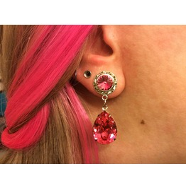 7/16 00g 0g 2g 4g 6g 8g 10g 12g 1 Pair Fuchsia Dangle Plugs Gauges