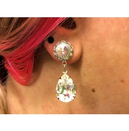 7/16 00g 0g 2g 4g 6g 8g 10g 12g 1 Clear Crystal Dangle Plugs Gauges