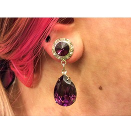 7/16 00g 0g 2g 4g 6g 8g 10g 12g 1 Amethyst Dangle Plugs Gauges