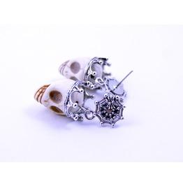 1 Pair White Skull Halloween Carved Howlite Sugar Skull Earrings