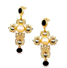 Striking! Gold Metal Crucifix Earrings With Black Crystals And Faux Pear