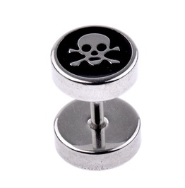 Awesome Skull + Cross Bones Stainless Steel Screw Back Stud Earring X 1