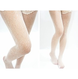 Jagged Shape Lolita Fishnet Tights White