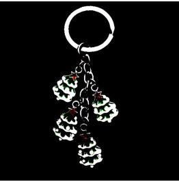 Awesome Christmas Tree Design Enamel Metal Keyring