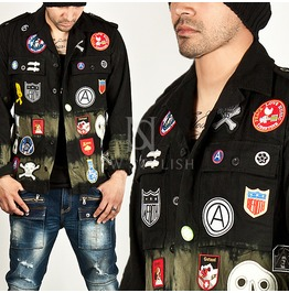 Multiple Patchwork Accent Military Shirt Jacket 161