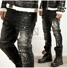 Unbeatable Distressed Quilted Stitch Accent Black Washing Slim Jeans 160