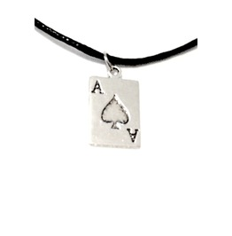 Awesome Tibetan Silver Plated Ace Of Spades Design Pendant On Black Leathe