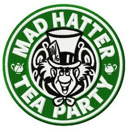 Embroidered Faux Starbucks Mad Hatter Tea Party Patch Coffee Iron On / Sew