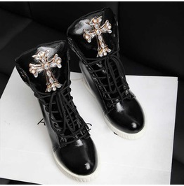 Black/Silver Gothic Rhinestone Cross Design Women's Wedge Heel Sneakers