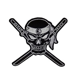 Skull And Katanas Patch Iron On Sew On Martial Arts Tattoo Japan Ninja