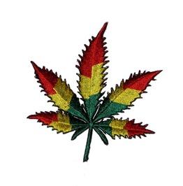 Ganja Leaf Jamaica Patch Iron On Sew On Cannabis Weed