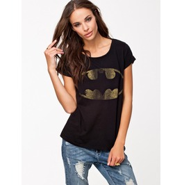 Women's Batman Logo Printed Black Short Sleeve Top Tee T Shirt