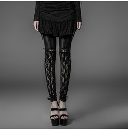 Black Gothic Sheer Floral Lace Fitted Sexy Leggings