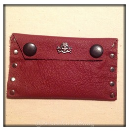 Handmade Red Leather Card Holder Skulls & Crossbones Charm