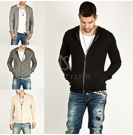 Knit Cotton Slim Zip Up Jacket 162