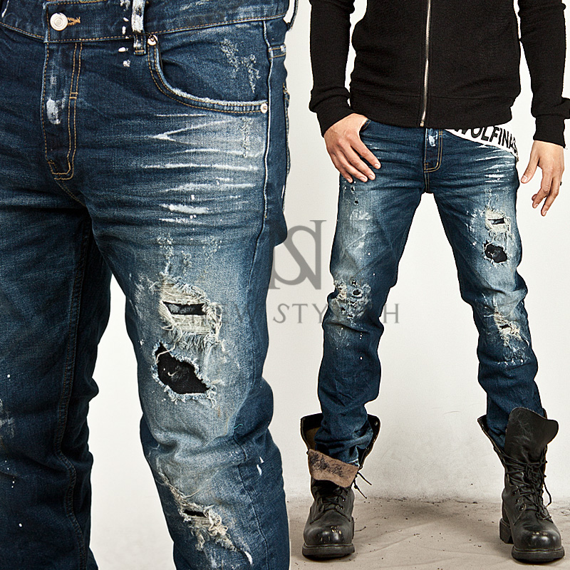 Mens bedroom furniture - Striking Bullet Damage Accent Washing Blue Denim Jeans 163 99872