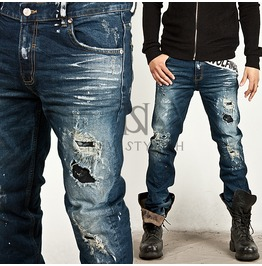 Striking Bullet Damage Accent Washing Blue Denim Jeans 163