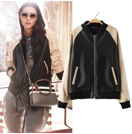 2015 New Fashion Pu Leather Baseball Jacket Faux Jackets Women