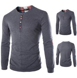 Plaid Patch Woolen Cotton Long Sleeved T Shirt