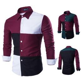 Color Blocking Checks Cotton Men Shirt